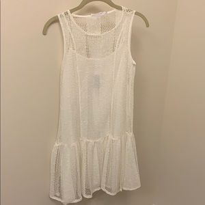 White knit summer flounce BCBG dress.